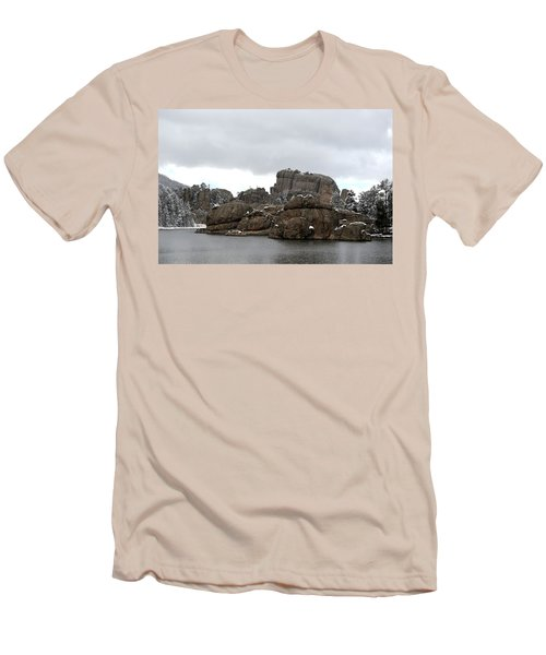 Men's T-Shirt (Slim Fit) featuring the photograph Sylvan Lake In October by Clarice  Lakota