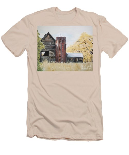 Men's T-Shirt (Athletic Fit) featuring the painting Golden Aged Barn -washington - Red Silo  by Jan Dappen