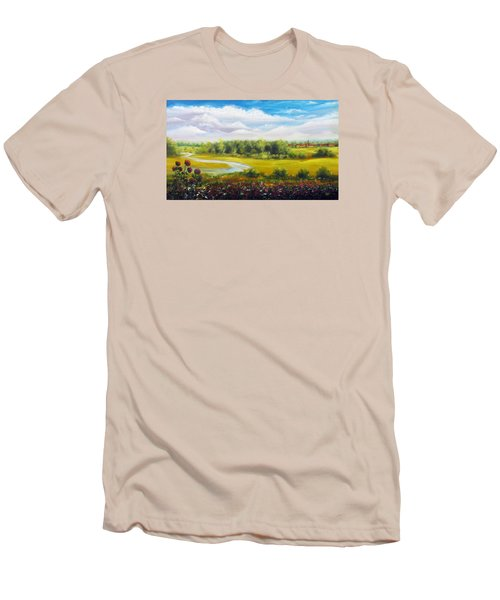 Men's T-Shirt (Slim Fit) featuring the painting Summer Day by Vesna Martinjak