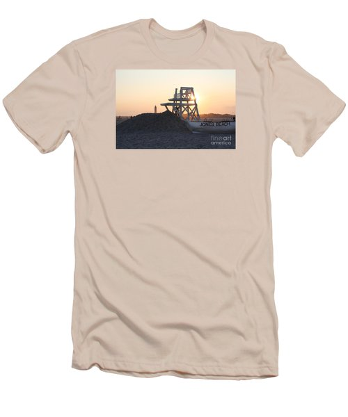 Sunset At Jones Beach Men's T-Shirt (Slim Fit) by John Telfer