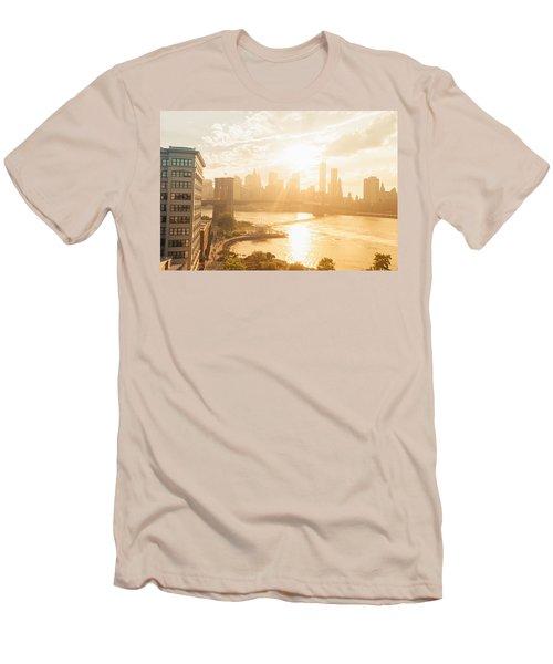 Sunset - Brooklyn Bridge - New York City Men's T-Shirt (Athletic Fit)