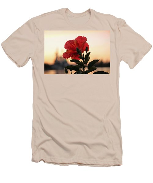 Men's T-Shirt (Slim Fit) featuring the photograph Sunset Flower by Cynthia Guinn