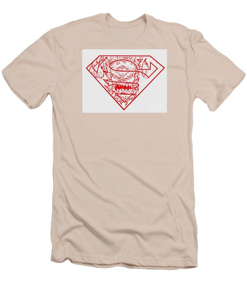 Men's T-Shirt (Slim Fit) featuring the drawing Superman And Doomsday Red by Justin Moore