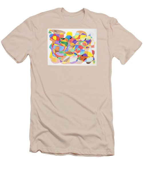 Men's T-Shirt (Slim Fit) featuring the painting Abstract Dance Party  by Stormm Bradshaw