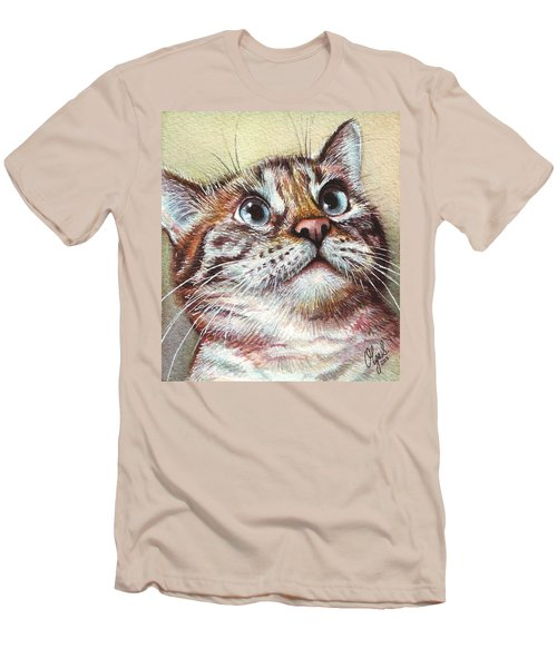 Surprised Kitty Men's T-Shirt (Slim Fit) by Olga Shvartsur
