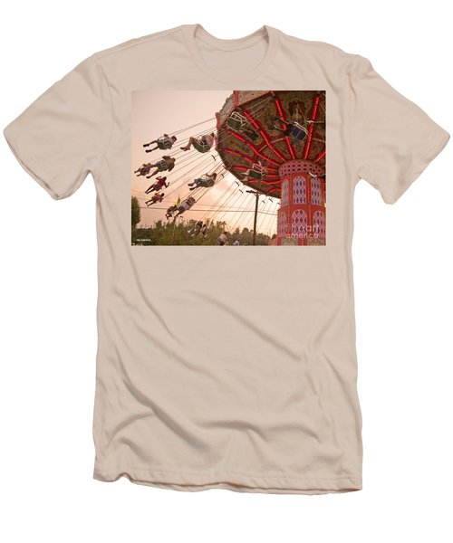 Swings At Kennywood Park Men's T-Shirt (Slim Fit) by Carrie Zahniser