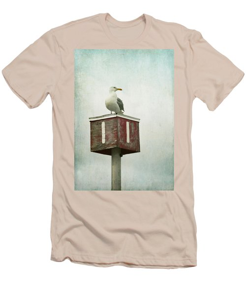 Men's T-Shirt (Slim Fit) featuring the photograph Gull With Blue And Red by Brooke T Ryan