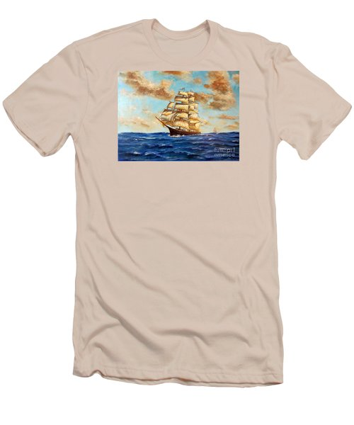 Tall Ship On The South Sea Men's T-Shirt (Slim Fit) by Lee Piper