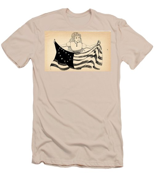 Men's T-Shirt (Slim Fit) featuring the drawing Tammy And The Flag by Reynold Jay