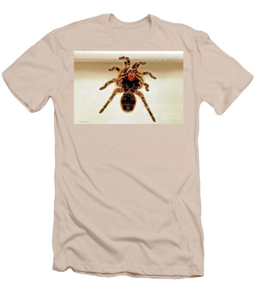 Men's T-Shirt (Slim Fit) featuring the photograph Tarantula Hanging On Glass by Susan Wiedmann