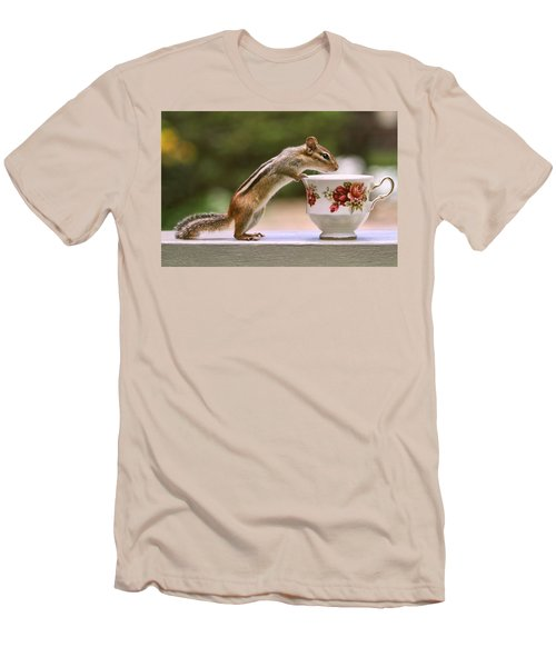 Tea Time With Chipmunk Men's T-Shirt (Slim Fit) by Peggy Collins