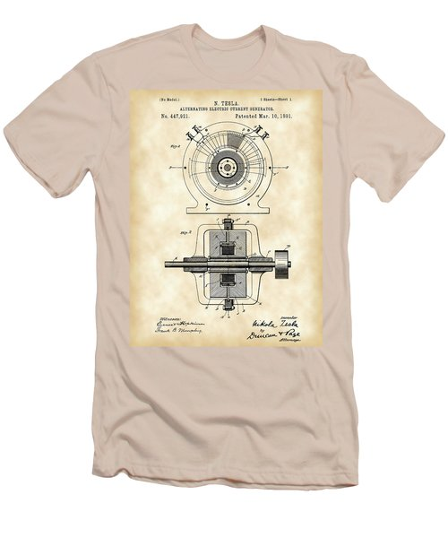 Tesla Alternating Electric Current Generator Patent 1891 - Vintage Men's T-Shirt (Athletic Fit)