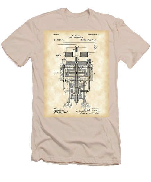 Tesla Electric Generator Patent 1894 - Vintage Men's T-Shirt (Athletic Fit)