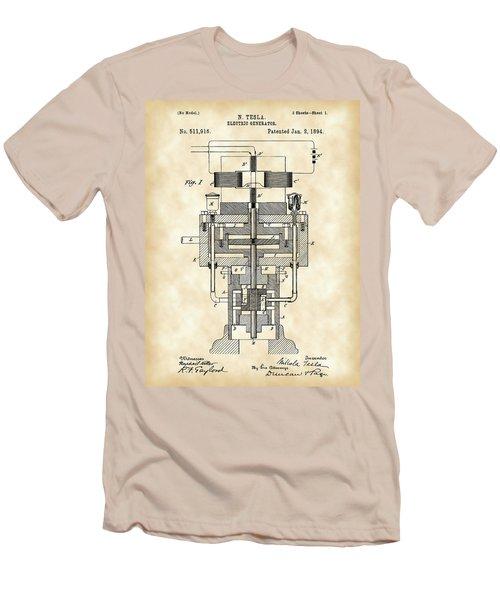 Tesla Electric Generator Patent 1894 - Vintage Men's T-Shirt (Slim Fit) by Stephen Younts