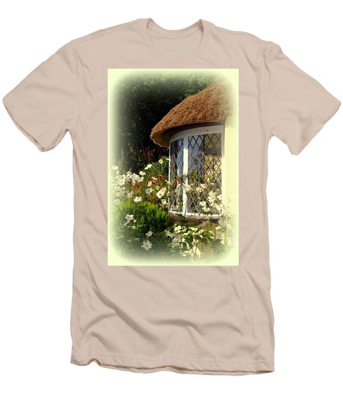 Thatched Cottage Window Men's T-Shirt (Slim Fit) by Carla Parris
