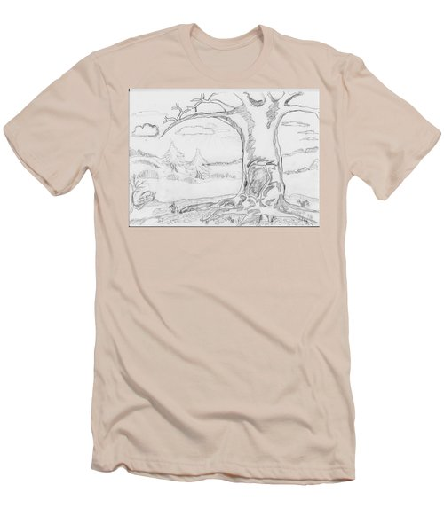 Men's T-Shirt (Slim Fit) featuring the painting The Big Oak  by Felicia Tica