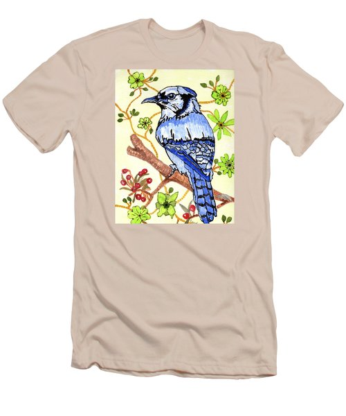 The Bird In My Yard Men's T-Shirt (Slim Fit) by Connie Valasco