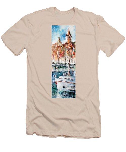 The Ferry Arrives At Galata Port - Istanbul Men's T-Shirt (Slim Fit) by Faruk Koksal