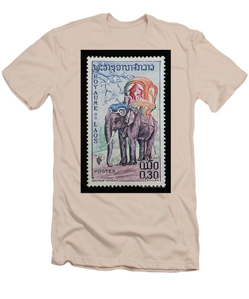 Men's T-Shirt (Slim Fit) featuring the photograph The King's Elephant Vintage Postage Stamp Print by Andy Prendy