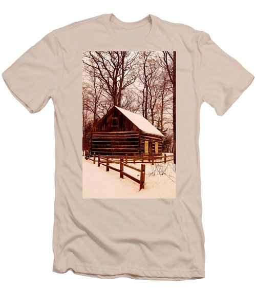 The Log Cabin At Old Mission Point Men's T-Shirt (Slim Fit) by Daniel Thompson