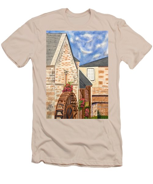 The Old French Mill Watercolor Art Prints Men's T-Shirt (Slim Fit) by Valerie Garner