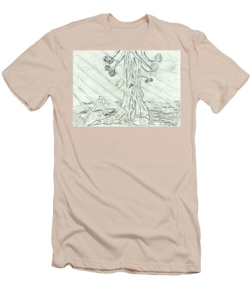 Men's T-Shirt (Slim Fit) featuring the drawing The Old Tree In Spring Light  - Sketch by Felicia Tica
