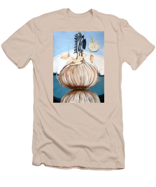 Men's T-Shirt (Slim Fit) featuring the painting The Onion Maiden And Her Hair La Doncella Cebolla Y Su Cabello by Lazaro Hurtado