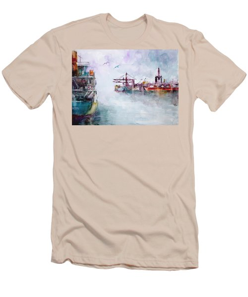 Men's T-Shirt (Slim Fit) featuring the painting The Ship At Harbor Entrance by Faruk Koksal