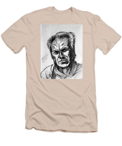 Men's T-Shirt (Slim Fit) featuring the painting Clint Eastwood by Salman Ravish