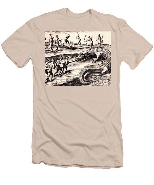 Their Manner Of Killynge Crocodrilles Men's T-Shirt (Slim Fit) by Peter Gumaer Ogden
