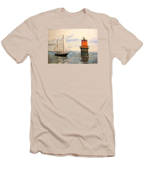 Men's T-Shirt (Slim Fit) featuring the painting Thimble Shoals Light by Stan Tenney