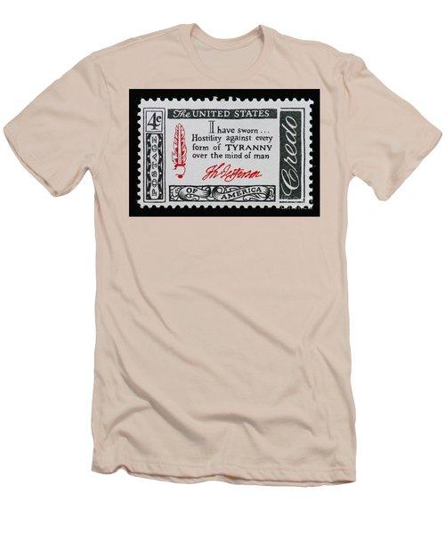 Thomas Jefferson American Credo Vintage Postage Stamp Print Men's T-Shirt (Athletic Fit)