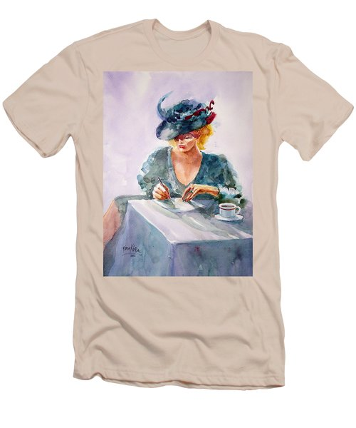 Men's T-Shirt (Slim Fit) featuring the painting Thoughtful... by Faruk Koksal