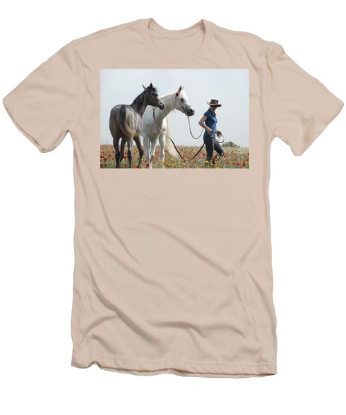 Three At The Poppies' Field... 1 Men's T-Shirt (Slim Fit) by Dubi Roman