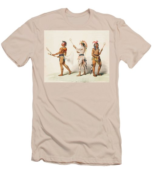 Three Indians Playing Lacrosse Men's T-Shirt (Slim Fit) by Unknown