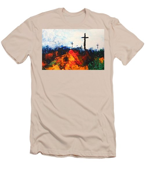 Three Wooden Crosses Men's T-Shirt (Athletic Fit)
