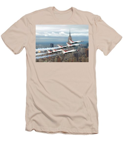 Thunderbirds Over New York City Men's T-Shirt (Slim Fit) by U S A F