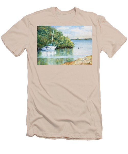 Men's T-Shirt (Slim Fit) featuring the painting Tide's Out by Roger Rockefeller