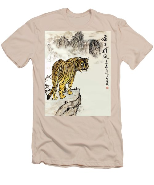 Men's T-Shirt (Slim Fit) featuring the painting Tiger by Yufeng Wang