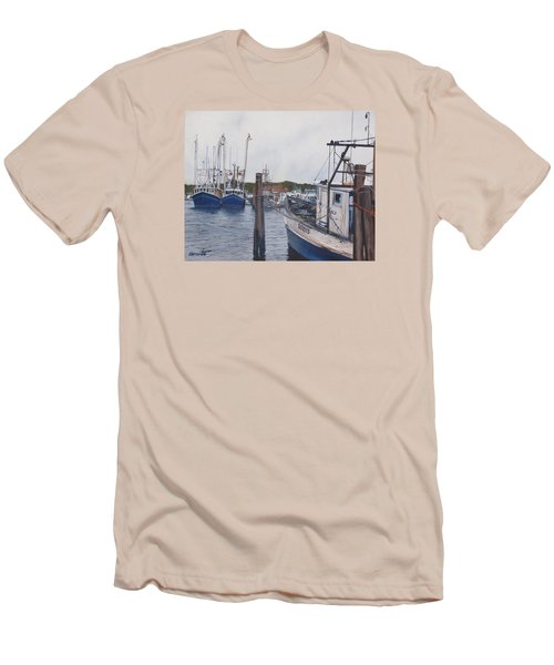 Trawlers At Gosman's Dock Montauk Men's T-Shirt (Slim Fit) by Barbara Barber