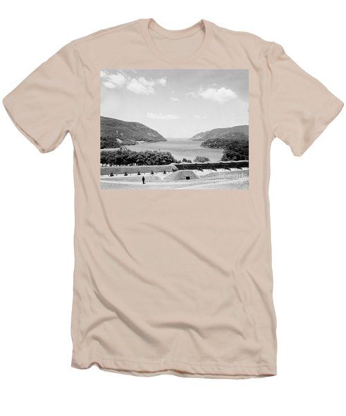 Trophy Point North Fro West Point In Black And White Men's T-Shirt (Athletic Fit)