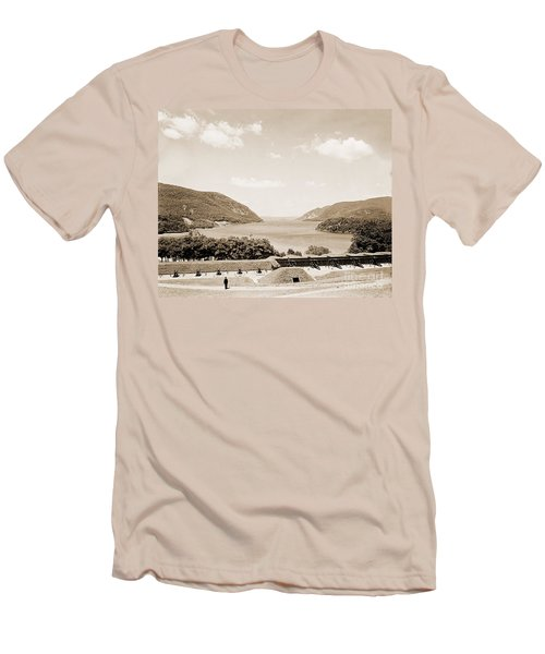 Trophy Point North Fro West Point In Sepia Tone Men's T-Shirt (Athletic Fit)