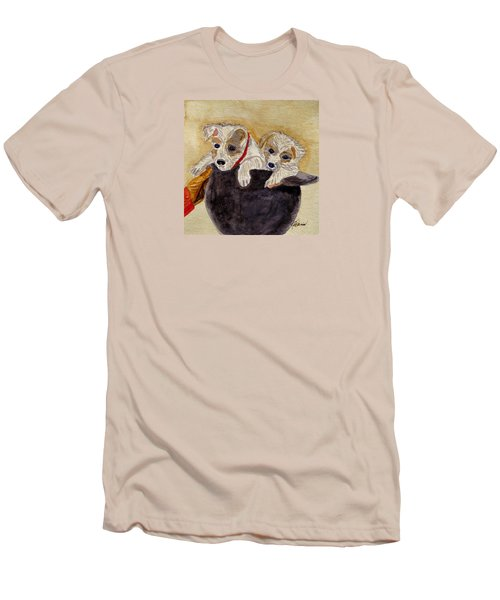 Men's T-Shirt (Slim Fit) featuring the painting Trump And Tillie by Angela Davies