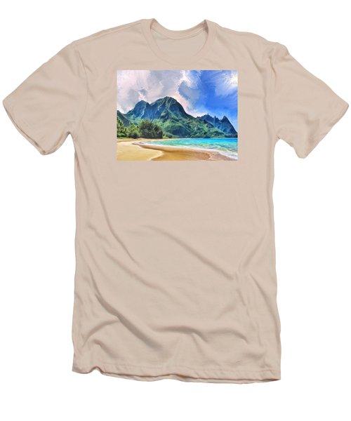 Tunnels Beach Kauai Men's T-Shirt (Slim Fit) by Dominic Piperata
