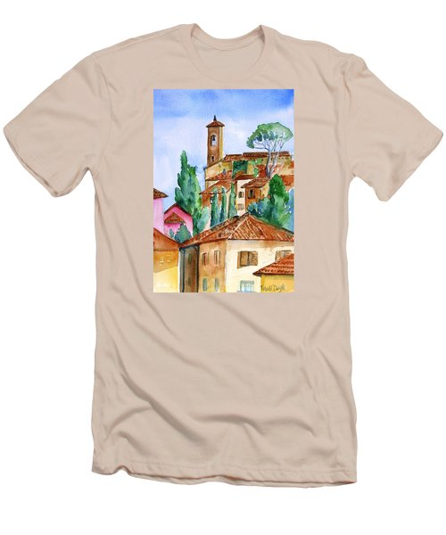 Tuscan Rooftops  -montecatini Alto Men's T-Shirt (Slim Fit) by Trudi Doyle