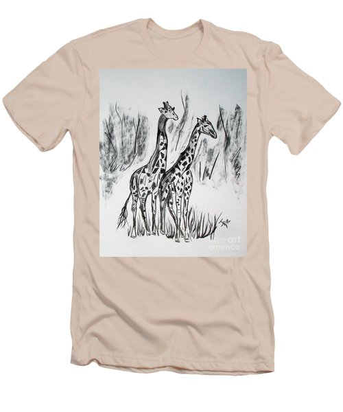 Men's T-Shirt (Slim Fit) featuring the drawing Two Giraffe's In Graphite by Janice Rae Pariza