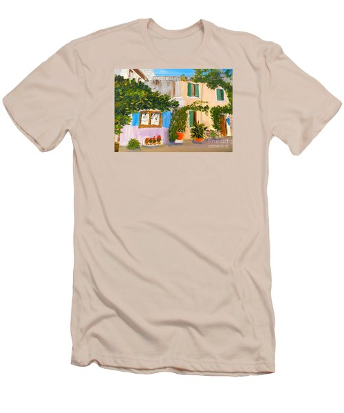 Men's T-Shirt (Slim Fit) featuring the painting Umbera Courtyard by Pamela  Meredith