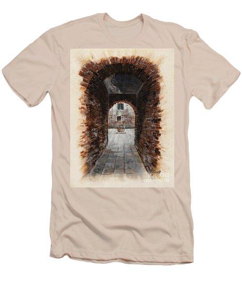 Men's T-Shirt (Slim Fit) featuring the painting Venetian Courtyard 01 Elena Yakubovich by Elena Yakubovich