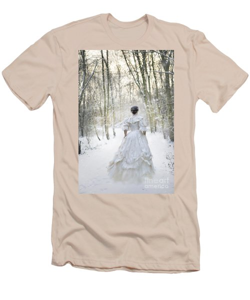 Victorian Woman Running Through A Winter Woodland With Fallen Sn Men's T-Shirt (Athletic Fit)