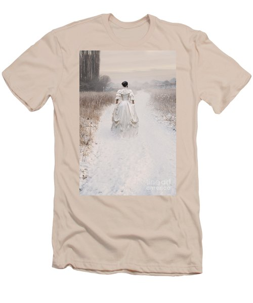 Victorian Woman Walking Through A Winter Meadow Men's T-Shirt (Athletic Fit)